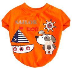 Camiseta para Cachorro Sailor Laranja Dear Dog - MeuAmigoPet.com.br #petshop #cachorro #cão #meuamigopet