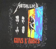 Metallica Guns N' Roses 1992 Faith No More T Shirt Dates