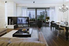 Salon z jadalnią w stylu glamour - Nasciturus Design - HomeSquare