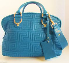 $1,895 Versace Couture Soft Bowler Leather Blu Reale Blue Shoulder