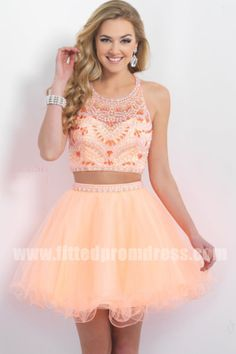 Blush 10080 Beaded Two Piece Short Open Back Homecoming Dresses