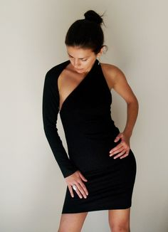 Unique Black Party Dress Fitted One shoulder Mini Dress - Free US Shipping - Donation to UNICEF - Item MM-DRT1100B4. $59.00, via Etsy.