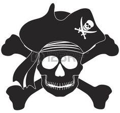 tête de mort pirate: Crâne avec le capitaine Pirate Hat et Cross Bones noir et blanc Illustration