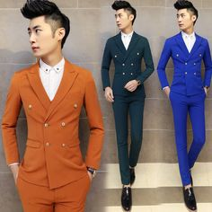 freeshipping royal blue mens suit springautumn terno masculino 3-piece suits slim fit men wedding groom tuxedo suit costume home #Affiliate