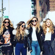 The Girls Are Back In Town!  #Hair by Steph & Mel V  : @lisarichov  @zorannah @bridgethelene @tatjanamariposa @majamalnar  #hellogorgeous #gorgeousgirls #nyfw #thegirls #instahair #photoshoot #bts #denim #leather