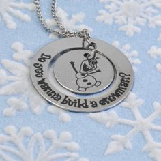 Circle Personalized Frozen Olaf Necklace Snowman Hugs on Etsy, $32.00
