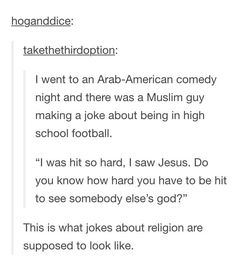 That's actually hilarious. I applaud this man and his way of making light-hearted jokes about religion- not just the derogatory kind. Funny Quotes, Funny Memes, Hilarious, Jokes, Funny Pins, Funny Stuff, Random Stuff, Just In Case, Just For You