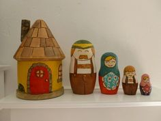 Matryoshka nesting dolls with house by HandmadebyKaarina on Etsy, $80.00