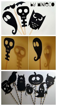halloweencrafts:  DIY Halloween Shadow Puppets Tutorial and Templates. Top and Middle Photos: download templates from Minieco here, Bottom Photo: download templates from Chez Beeber Baby here.