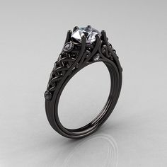 Reserved for Matt and Amber - Designer Exclusive Classic 14K Black Gold 1.0 Carat White Sapphire Diamond Lace Ring R175-14KBGDWS <- Wow.