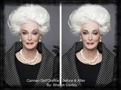 Carmen Dell'Orfice........................ By:SharonDanley.............................. Bravo to Carmen for her ability to re-invent while maintaining a wonderfully classic and elegant style.  I've only corrected her brows to bring the architecture back to her face for a softer look. And I understand that her original brow here gives her character. That's where the individual choice comes in. And its nice to have the choice.