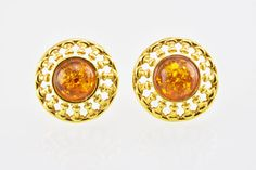 Glittering Color Genuine Baltic Amber Silver Gold Plated Stud Earrings