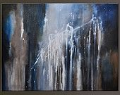 Blue Galaxy - 40 x 30 - Abstract Acrylic Painting - Huge Contemporary Wall Art~ on Sale