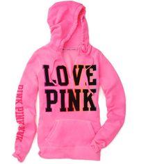 PINK Wear Everywhere Hoodie (59 AUD) ❤ liked on Polyvore featuring intimates, sleepwear, pajamas, tops, hoodies, jackets, pink, loungewear, sleep and contest