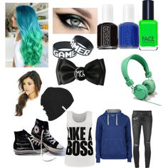 Jacksepticeye by yetanotherfangirl on Polyvore featuring 55Soul, WearAll, Ksubi, Converse, Krochet Kids, FACE Stockholm, Essie and Urbanears