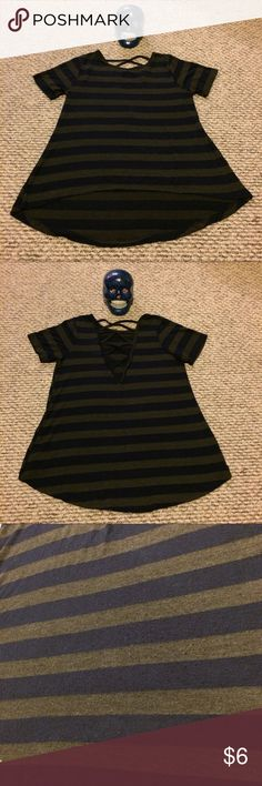 BP Striped T Shirt size Small Cross back short sleeve shirt in a size small. This stripped shirt is higher in the front and lower in the back. Since the back is lower there is a bit of pilling where jackets and backpacks rubbed against it bp Tops Tees - Short Sleeve
