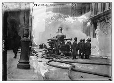 FDNY firefighters battle a fire in the Equitable Building on Jan. 9, 1912. The building actually included five buildings that occupied the entire square block bordered by Broadway, Nassau, Cedar and Pine streets in Manhattan. Brooklyn companies were requested to respond -- the first time an borough request was made in FDNY history.
