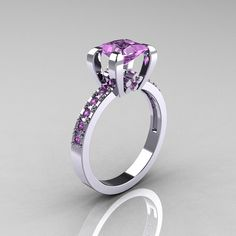 Classic French 14K White Gold 10 Carat Princess by artmasters, $1229.00