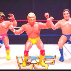 Wrestling toys from the 80s-My uncle would get these for my brother so he could play Barbies with us. I think we played with them as much as he did!