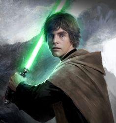 Luke Jedi wielding his green lightsaber.