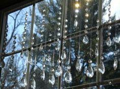 Chandelier drops as window decoration.
