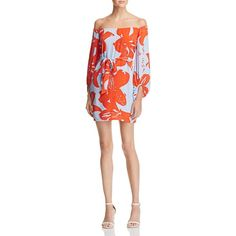 Bardot Camilla Off-The-Shoulder Dress (€98) ❤ liked on Polyvore featuring dresses, floral, floral pattern dress, floral day dress, short dresses, off the shoulder short dress and flower print dress