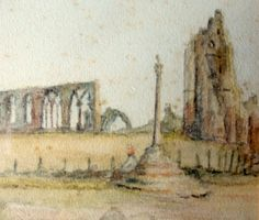 Whitby Abbey, watercolour on paper, titled and signed initials GW. c1850. Detail.