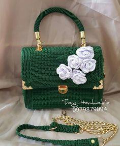 Feminine handmade crochet bag with silk flowers,gift for he Crochet Clutch, Crochet Handbags, Crochet Purses, Crotchet Bags, Knitted Bags, Love Crochet, Crochet Gifts, Crochet Bag Tutorials, Crochet Ideas