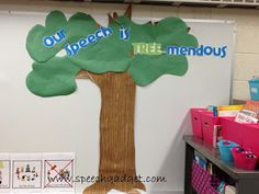 Cute tree bulletin board theme - could have apples/owls/leaves with student's goals written on them