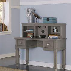 NE Kids Lake House Wooden Writing Desk with Hutch (Writing Desk w/ Hutch Stone), Grey