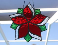 Christmas Star in Red and Green by GleamingColours on Etsy