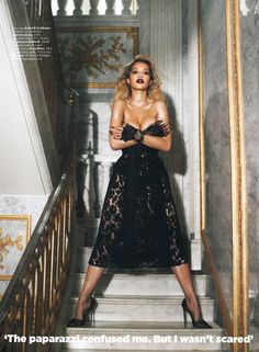 Rita Ora wearing Dolce and Gabbana in British GQ for Interview shooting, in Manolo Blahnik BB pumps