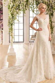 cd4029f63f 2018 Bateau Mermaid Tulle   Lace Vestidos de novia con apliques Sweep Train  Amazing Wedding Dress