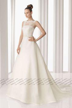 Aライン ウェディングドレス スカラップレース コートトレーン オフホワイト 021673037002