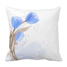 Abstract Blue Watercolor Tulips Throw Pillows