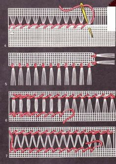 Basic Drawn Thread Work - Her Crochet Hardanger Embroidery, Hand Embroidery Stitches, Hand Embroidery Designs, Cross Stitch Embroidery, Embroidery Patterns, Cross Stitch Patterns, Machine Embroidery, Smocking Patterns, Weaving Patterns