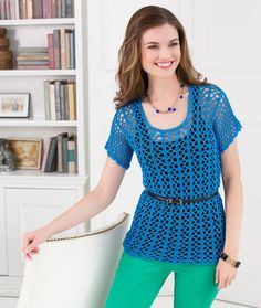 Breezy-T, Red Heart.com, #crochet, free pattern, top, summer, #haken, gratis patroon (Engels), top, zomer, truitje