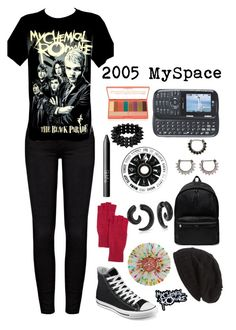 """2005 emo MySpace girl"" by a-lily-bit-of-everything ❤ liked on Polyvore featuring Frame Denim, Converse, Portolano, NARS Cosmetics, Bling Jewelry, Yves Saint Laurent, David & Young, LORAC, tumblr and mcr"