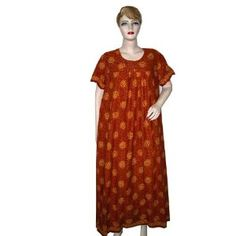 Womens Caftan Resort Wear Flame Orange Cotton Kaftan (Apparel)