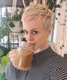 On my second mason of coffee this morning - hbu? & yay finally a decent photo of my pixie length! Very Short Pixie Cuts, Short Curly Pixie, Cute Pixie Cuts, Messy Pixie, Best Pixie Cuts, Short Pixie Haircuts, Pixie Hairstyles, Short Hair Cuts, Cool Hairstyles