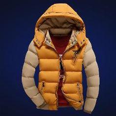 [ 25% OFF ] Thick Fashion Patchwork Zipper White Black Red Khaki Yellow Winter Autumn Winter Jacket Men Parkas Hombre Invierno Hot