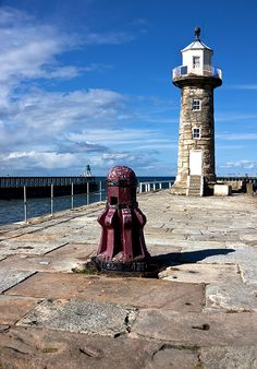 This photo from North Yorkshire, England is titled 'Whitby-Lighthouses and . Whitby England, Robin Hoods Bay, Country Uk, Here On Earth, Light House, North Yorkshire, Seaside, United Kingdom, Random Stuff