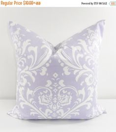 SALE Wisteria Damask. Pillow cover. by TwistedBobbinDesigns