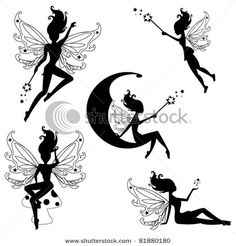 Cute fairies silhouettes - stock vector