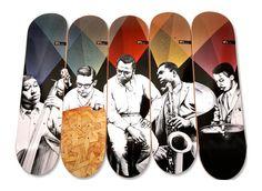Skate Art: Miles Davis Quintet tribute decks by Western Edition Skateboard Design, Skateboard Art, Creative Illustration, Illustration Art, Illustrations, Miles Davis Quintet, Kind Of Blue, Skate Decks, Snowboards