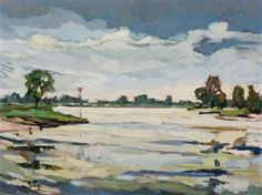 Kees Bol, The river Meuse near 't Veerhuis in the town of Well, 1996 Abstract Landscape Painting, Landscape Paintings, Dutch Artists, Still Life, Portrait, Gallery, Artworks, River, Expressionism