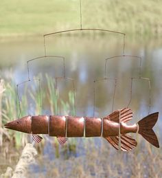 Whirligig Copper Fish Art | Windweather Handcrafted Metal Fish Mobile Metal Yard Sculpture