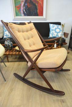 Mid Century Danish Rocking Chair by Frank Reenskaug for Bramin