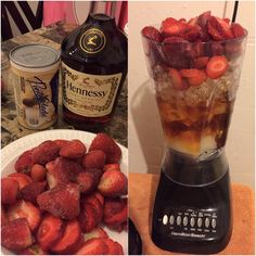 Pina colada mix+frozen strawberries+Hennessy= A great night cap