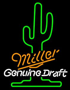 Miller Cactus Neon Beer Sign, Miller MGD Neon Beer Signs & Lights | Neon Beer Signs & Lights. Makes a great gift. High impact, eye catching, real glass tube neon sign. In stock. Ships in 5 days or less. Brand New Indoor Neon Sign. Neon Tube thickness is 9MM. All Neon Signs have 1 year warranty and 0% breakage guarantee.